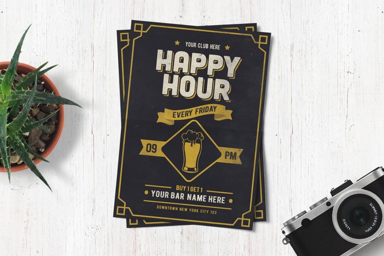Classic Happy Hour Drinks Flyer example image 1
