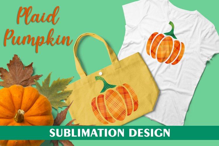 Plaid Pumpkin for Sublimation Design, Halloween Pumpkin PNG example image 1