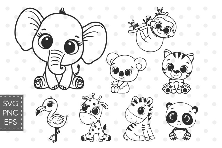 Zoo SVG, Baby animals svg, Cute elephant SVG example image 1