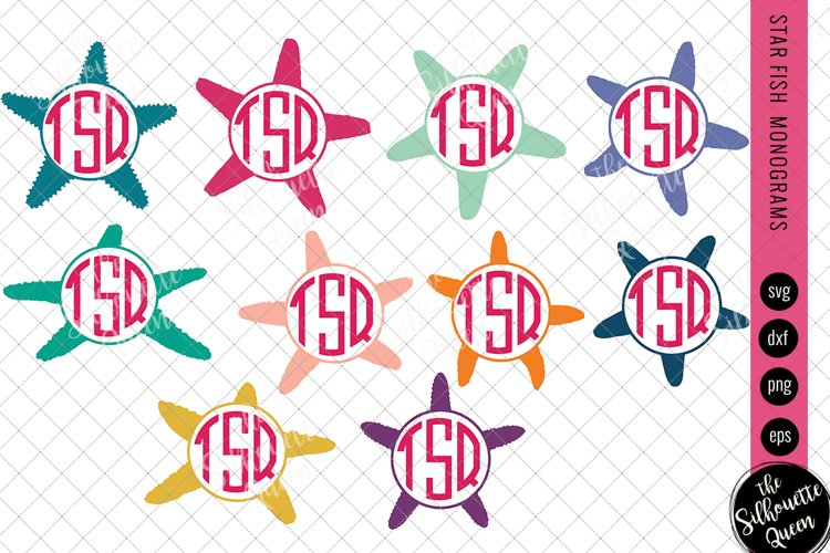 Star Fish Svg, Monogram Svg, Circle Frames, Cuttable Design example image 1