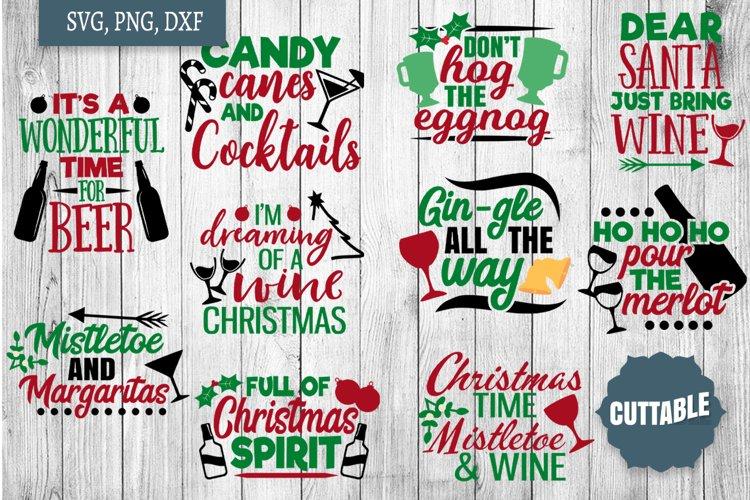 Christmas Drinking SVG Bundle, Christmas Alcohol cut files