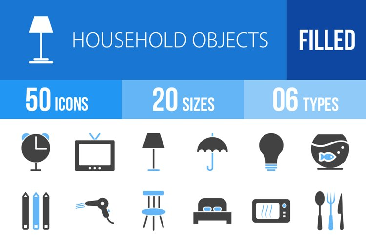 50 Household Objects Filled Blue & Black Icons example image 1