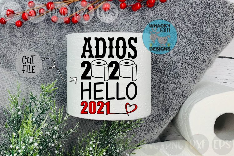 Adios 2020, Hello 2021, Heart, New Year, Cut File SVG example image 1