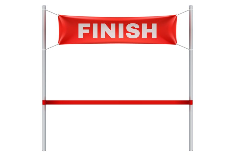 Finish line with red textile banner and ribbon vector illust