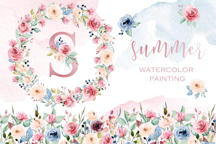 Watercolor flowers set Summer, hand painting. example image 1