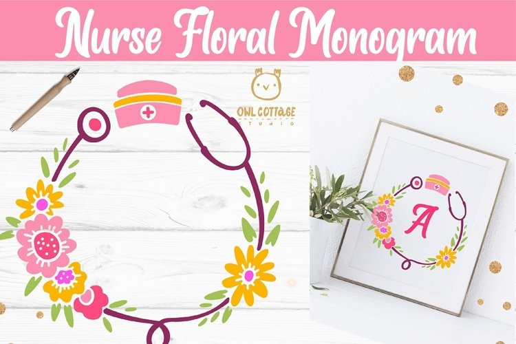 Floral Stethoscope SVG, Nurse Floral Monogram SVG example 5