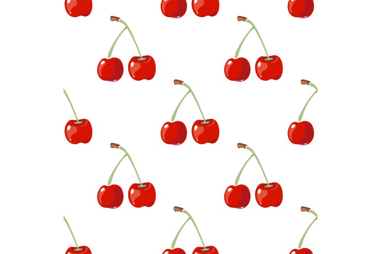 Red cherry vector seamless background