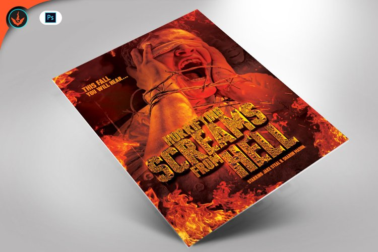 Screams from Hell Movie Poster ane Flyer Photoshop Template example image 1