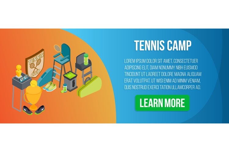Tennis camp concept banner, isometric style example image 1