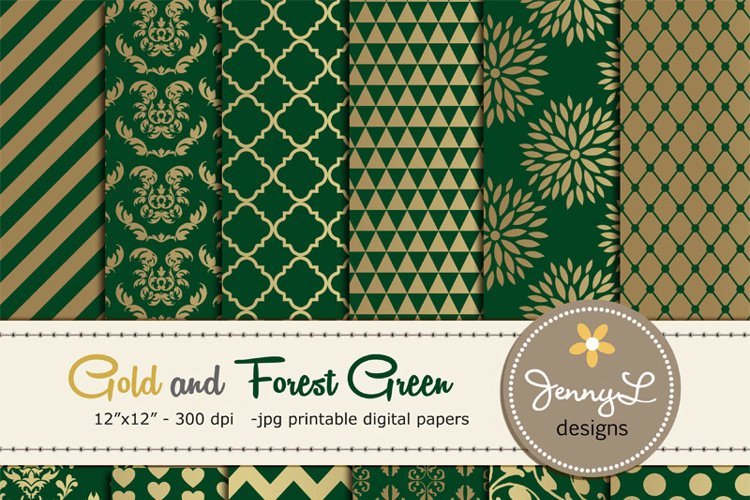 Gold and Forest Green Digital Papers example image 1