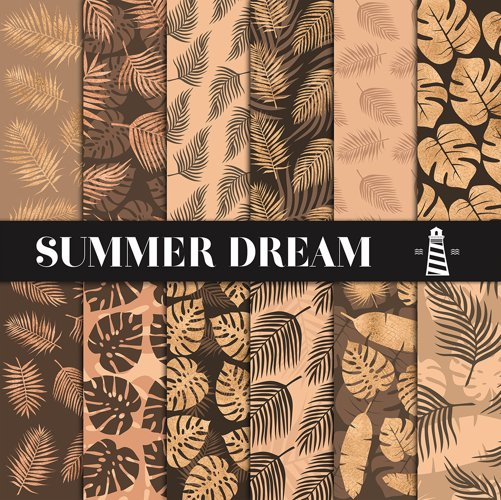 Copper Palm Leaves Paper example image 1