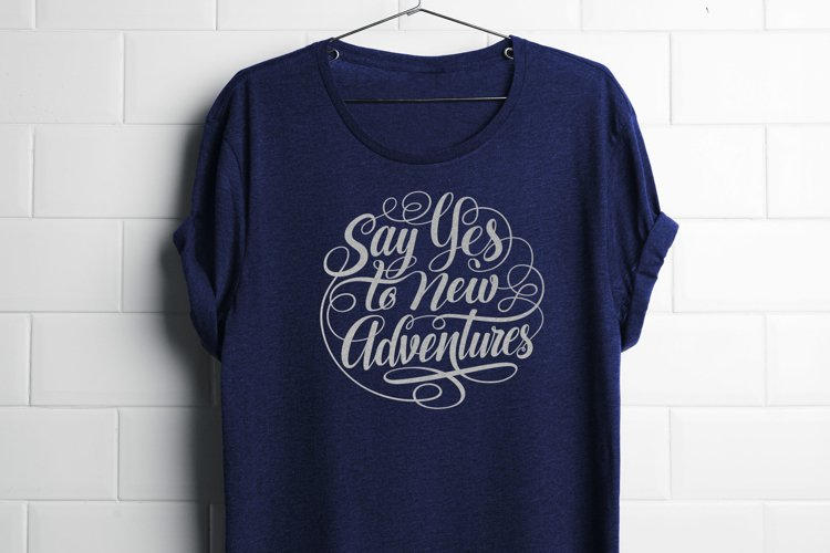 Say Yes to New Adventures Round Lettering SVG example image 1
