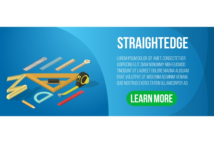 Straightedge concept banner, isometric style example image 1