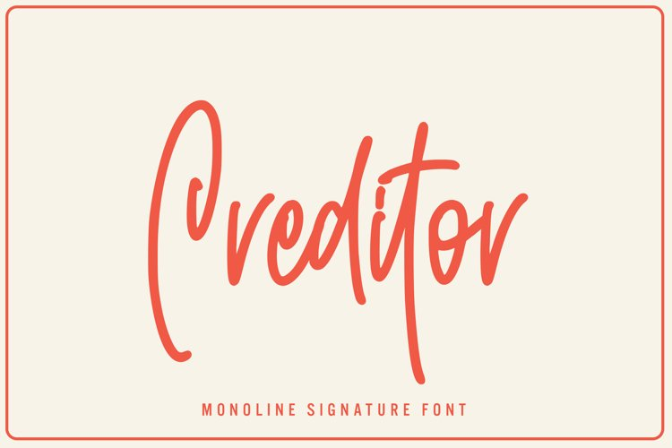 Creditor - Monoline Signature Font example image 1