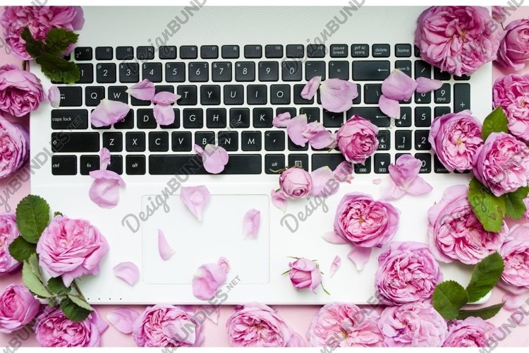 Postcard template. The laptop keyboard is strewn with pink