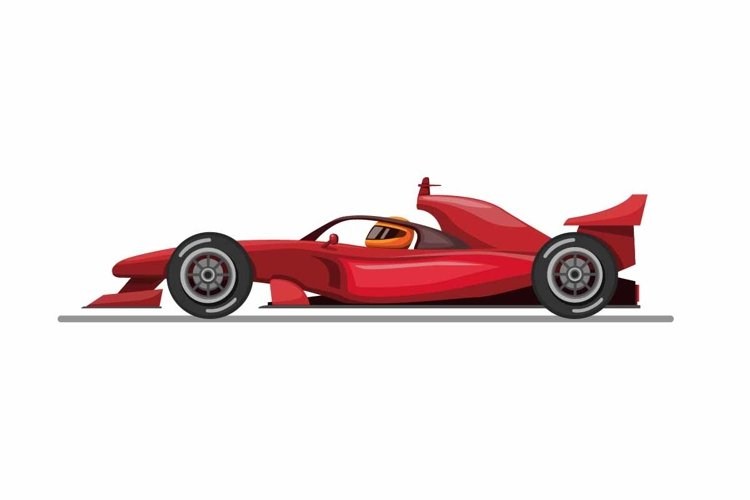 Formula one car and driver with halo head guard side view example image 1