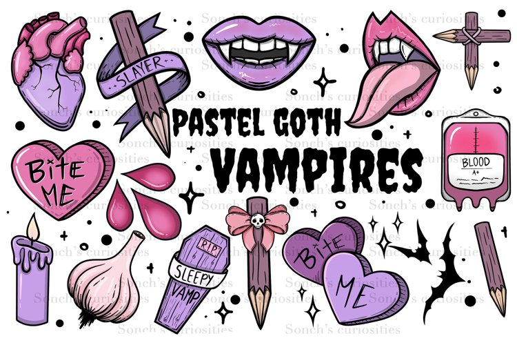 Vampire Clipart - Pastel Goth high resolution png files