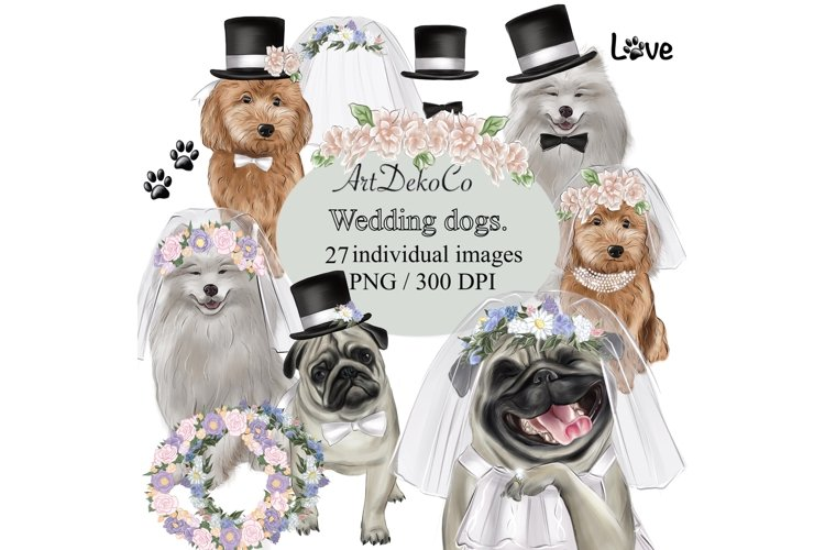 Wedding Clipart, Dogs Clipart, Dog Wedding Clipart, Marriage