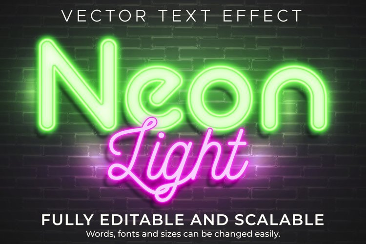 Editable text effect, neon light text style