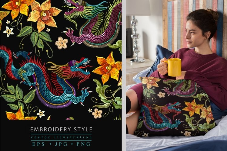 Embroidery style asian dragon and flowers example image 1