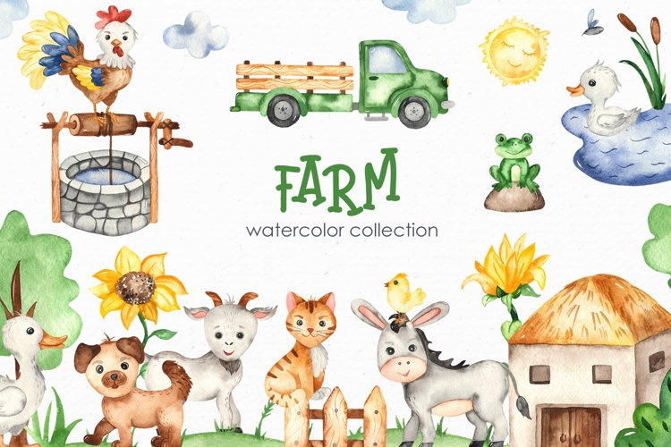 Farm Watercolor Clipart. Cards, frames, seamless patterns example image 1