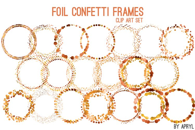 Copper Orange Foil Round Confetti Frames