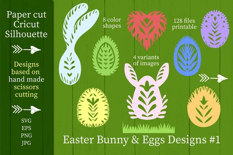 8 Easter Bunny Eggs Designs #1 SVG Paper cut