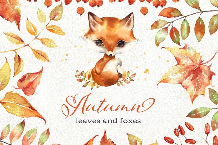Cartoon fox and fall leaves clipart. Fall wreath.
