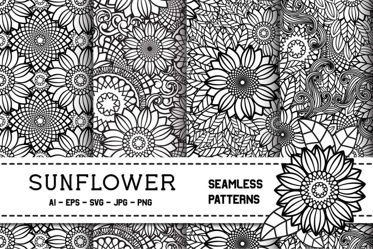 Sunflower Seamless Patterns | Zentangle Flowers | Floral Set