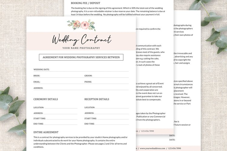 Wedding Photography Contract Template | Wedding Agreement example image 1