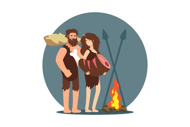 Primitive people cooking dinner on open fire example image 1
