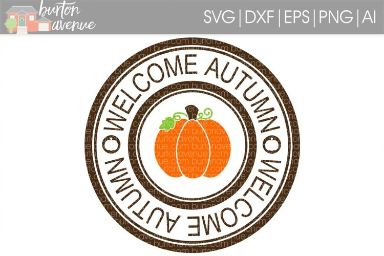 Autumn Stamp cut File - Thanksgiving SVG DXF EPS AI PNG example image 1