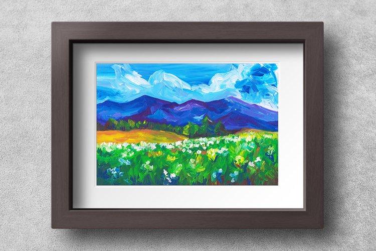 Landscape illustration, Summer Mountains - Wall Art Print
