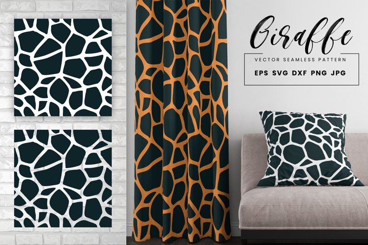 Giraffe Print Seamless Pattern Repeat Animal Texture SVG PNG example image 1