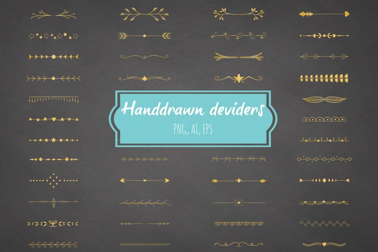 Handdrawn deviders gold - Ai + Eps + Png example image 1