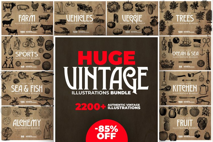 2200 Vintage Graphics Bundle example image 1