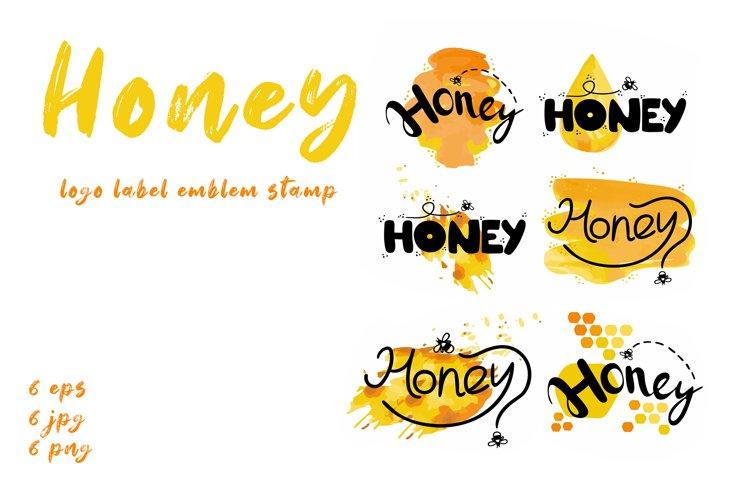 Honey food logo / emblem / label / stamp example image 1