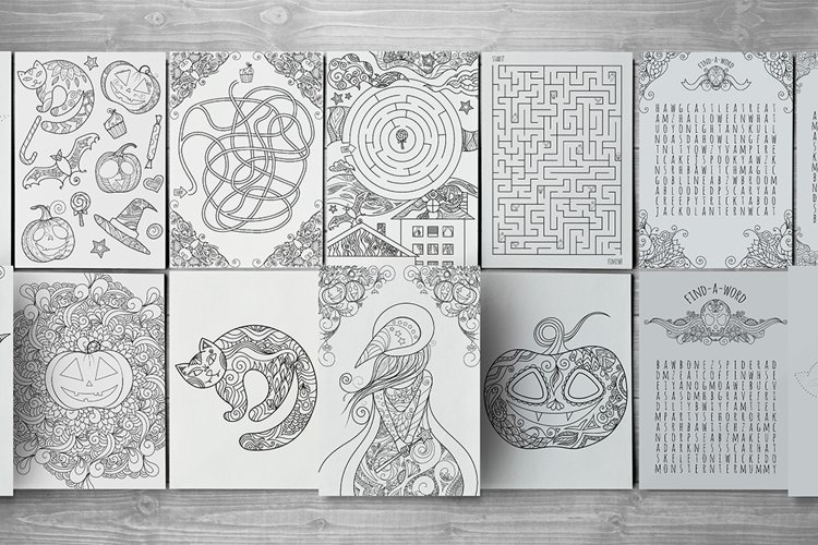 15 zentangle Halloween activity pages, mazes and colorings