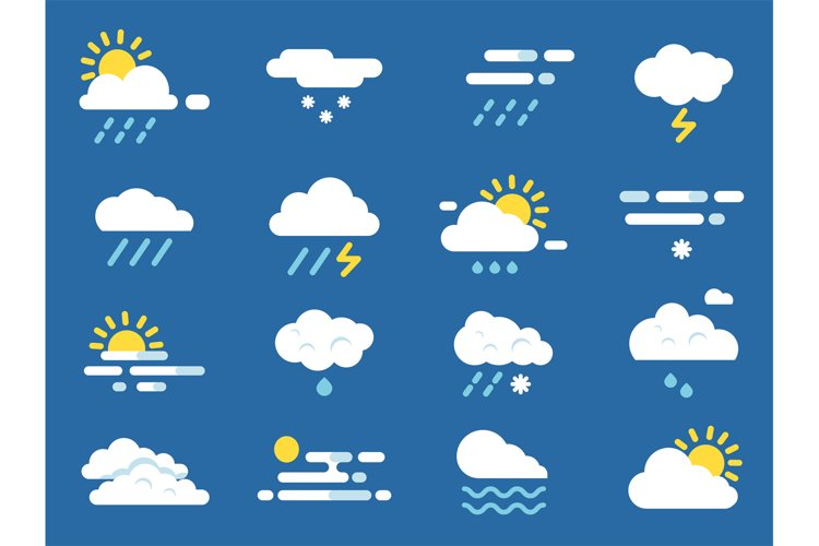 Weather icon set. Meteo symbols. Vector pictures in flat sty example image 1