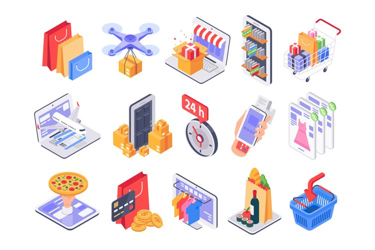 Isometric shopping. Online shop, market delivery and store s example image 1