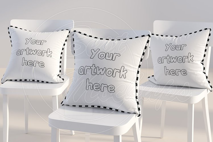 Three square PILLOWS mockup styled example image 1