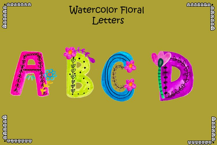 Watercolor Floral Letters example image 1