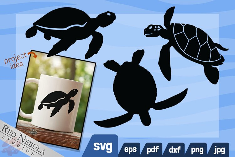 Sea Turtle SVG   Black and White Ocean Animal Clipart