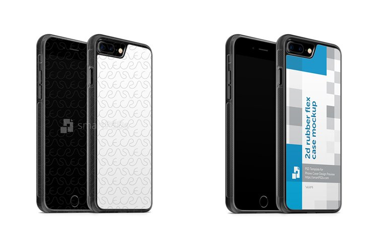 Apple iPhone 7 Plus 2d Rubber Flex Mobile Case Design Mockup 2016- Angled example image 1
