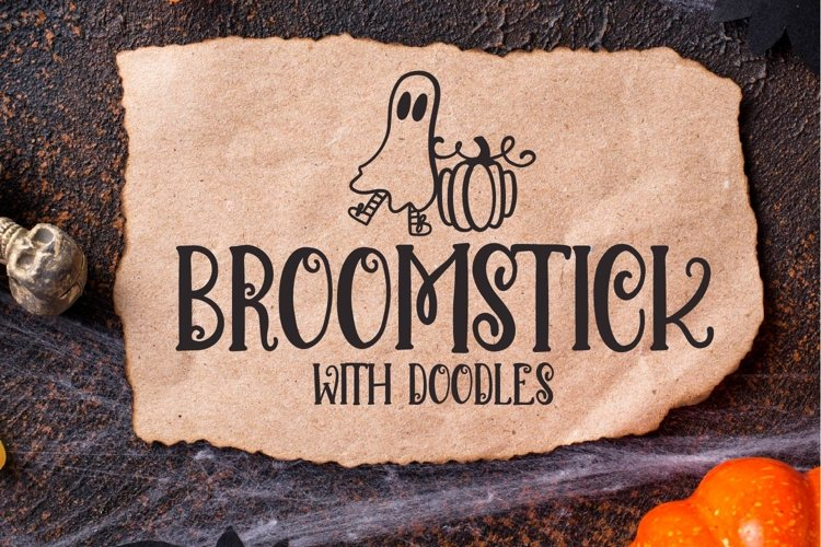 Broomstick - With Doodles - A Halloween Font Duo