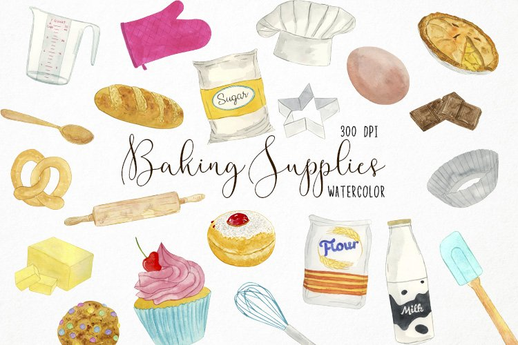 Watercolor Baking Clipart, Bakin Graphics, Cooking Clipart