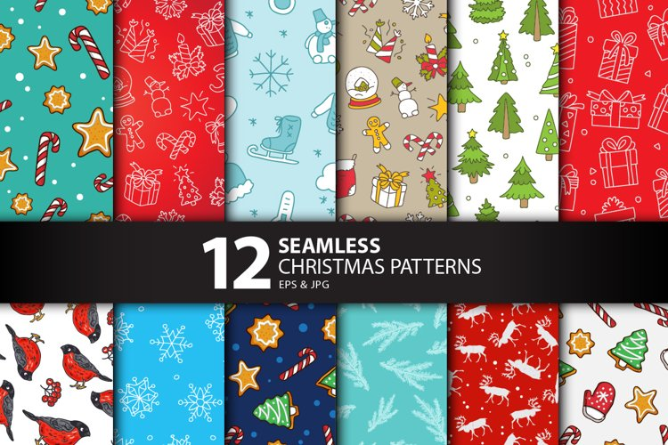 12 Seamless Christmas Patterns example image 1