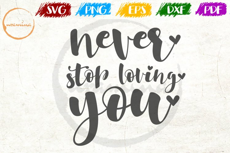 Never Stop Loving You Love Couple Anniversary Quote Art example image 1
