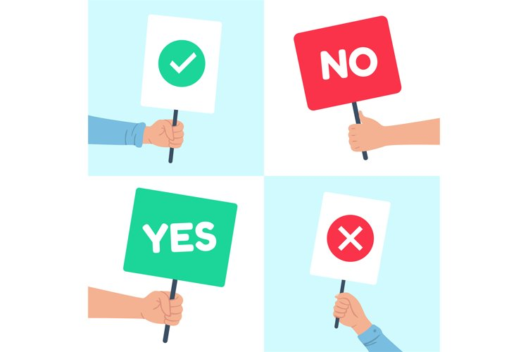 Yes no posters. Holding protest banner in hand, demonstratio example image 1