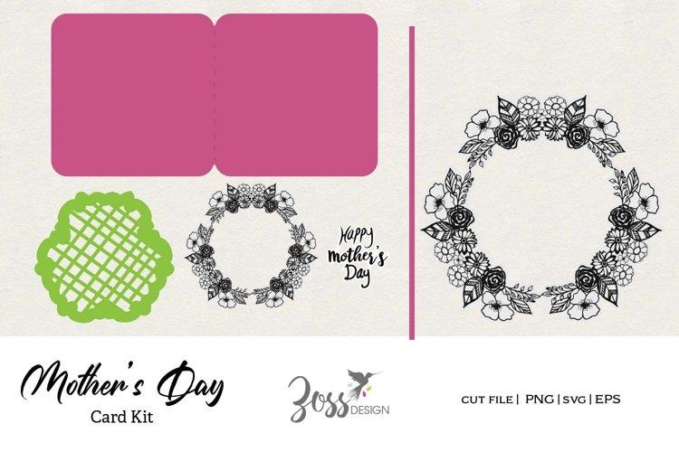 Mothers Day print , color cut digital stamp Card Kit